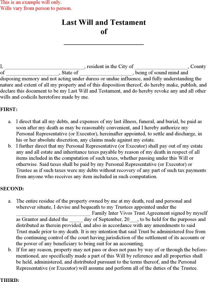 Utah Last Will and Testament Form