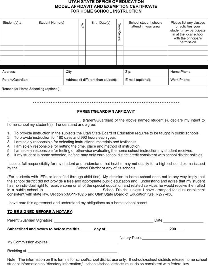 Utah Model Affidavit and Exemption Certificate for Home School Instruction Form
