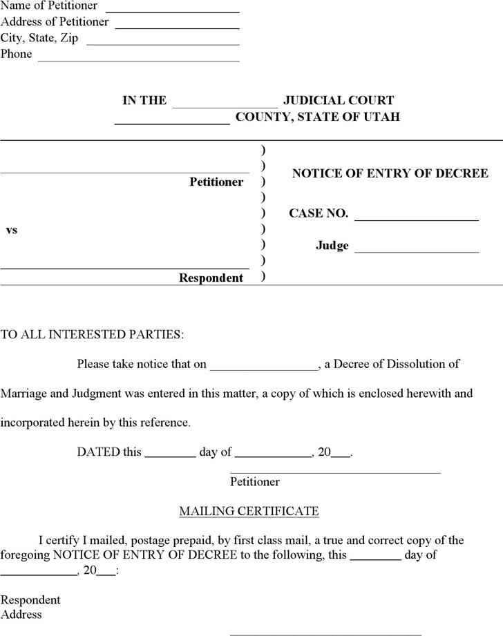 Utah Notice of Entry of Decree Form