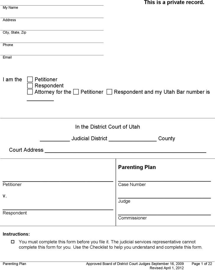 Utah Parenting Plan Form