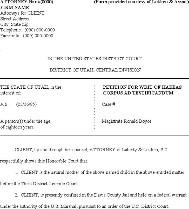 Utah Petition for Writ of Habeas Corpus