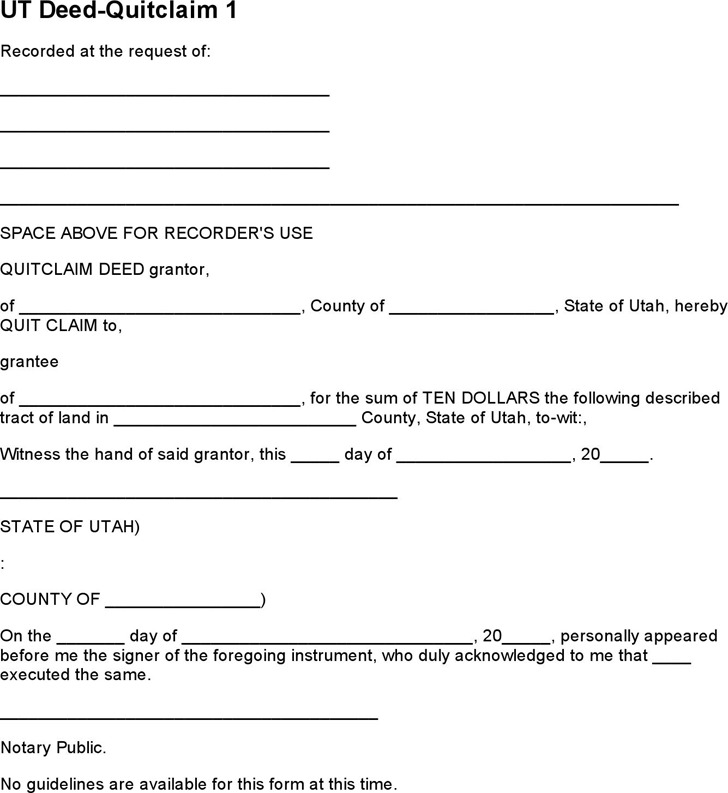 Free Quick Deed Form Download Free Generic Quitclaim Deed With Free