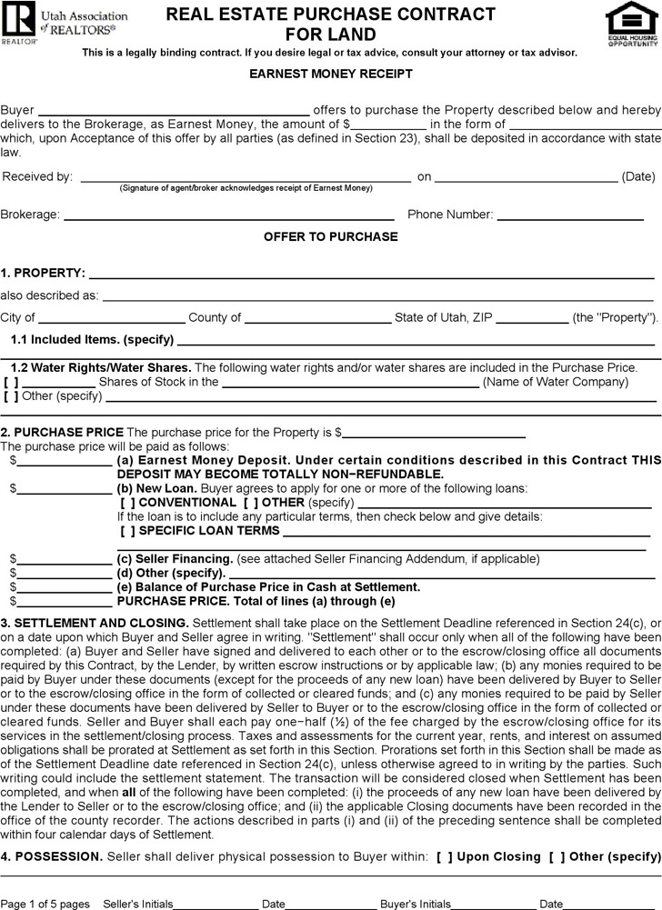 Utah Real Estate Purchase Contract for Land Form