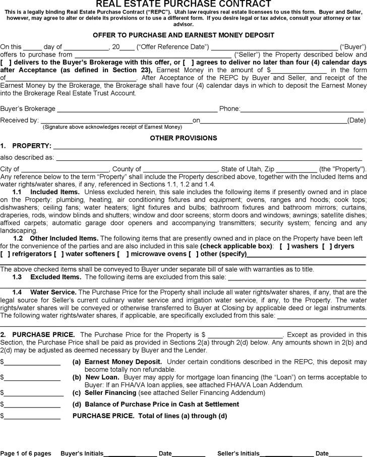 Utah Real Estate Purchase Contract Form