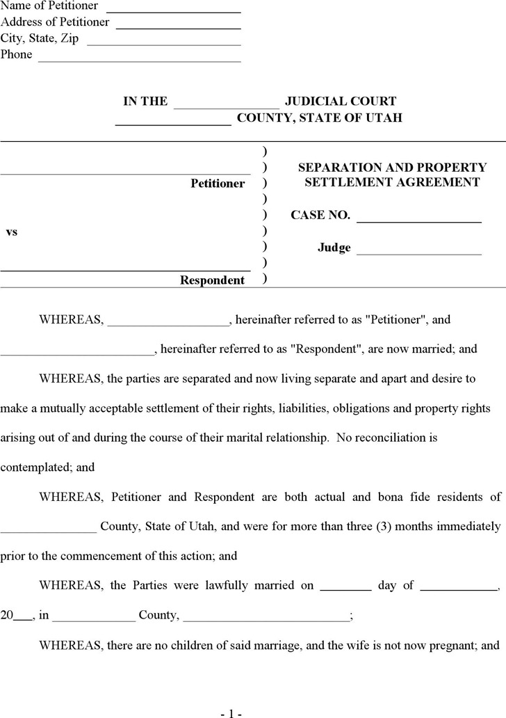 Utah Separation and Property Settlement Agreement Form