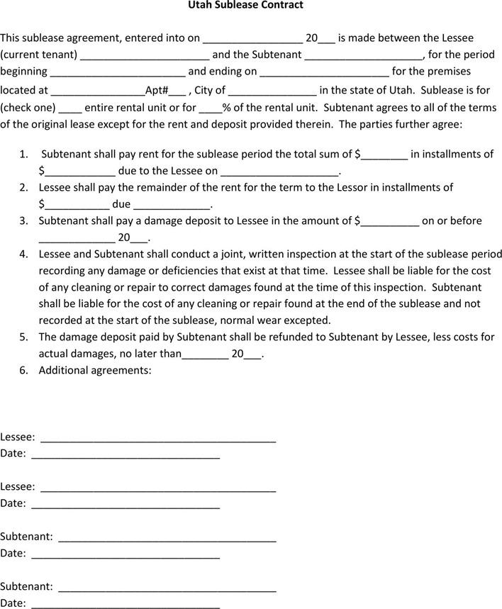 Utah Sublease Agreement