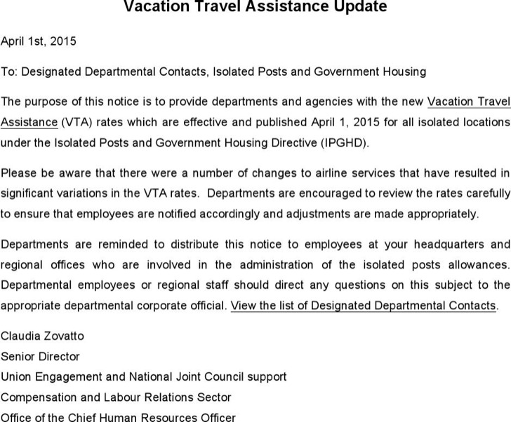 Vacation Travel Assistance Update