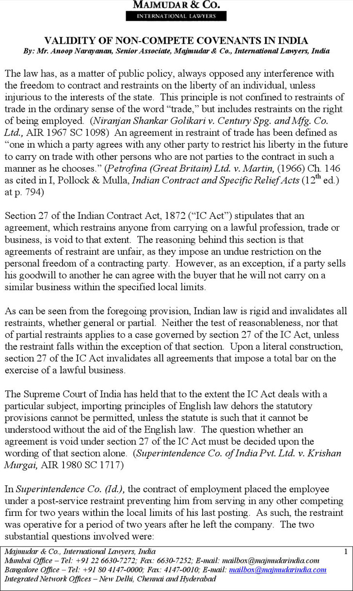 Validity Of Non Compete Agreement