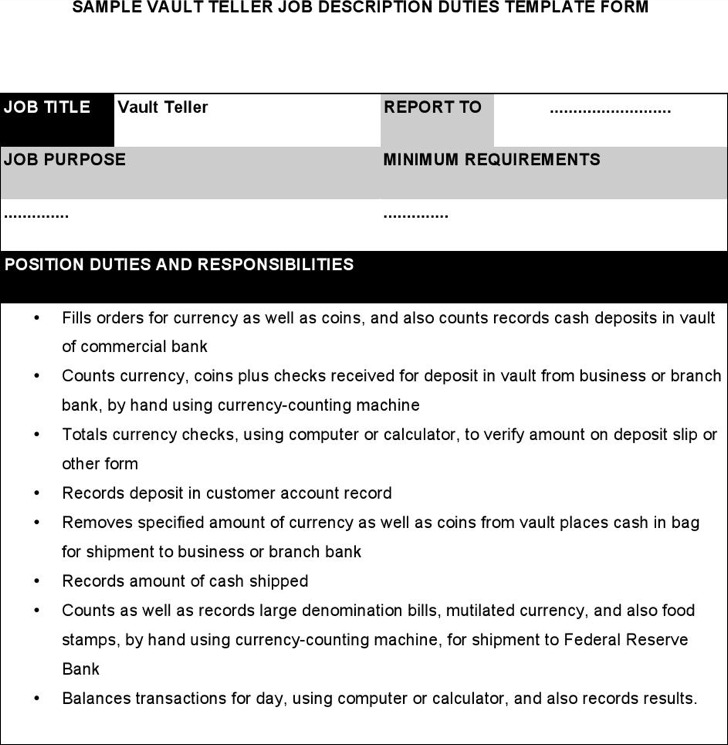Teller Job Description Merchant Teller Job Description Free