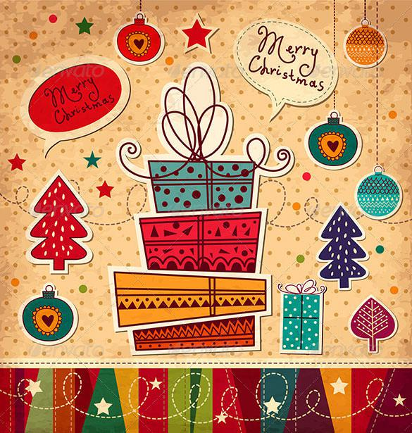 Vector Christmas Card With Gifts EPS Format