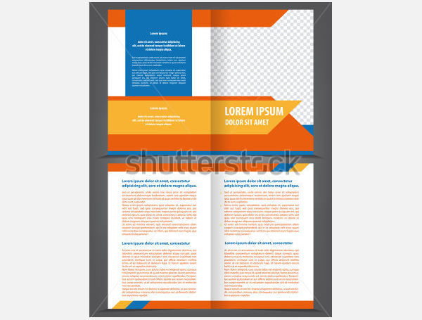 Vector Empty Bi-Fold Brochure Template Design 1