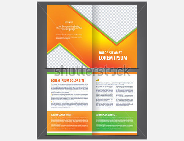 Vector Empty Bi-Fold Brochure Template Design