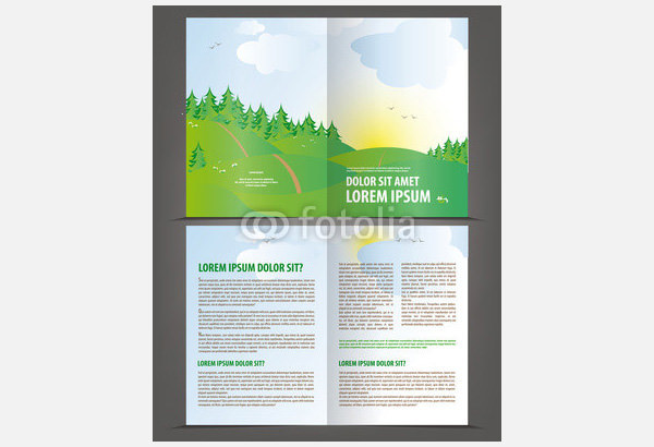 Vector Empty Bi-Fold Brochure Template
