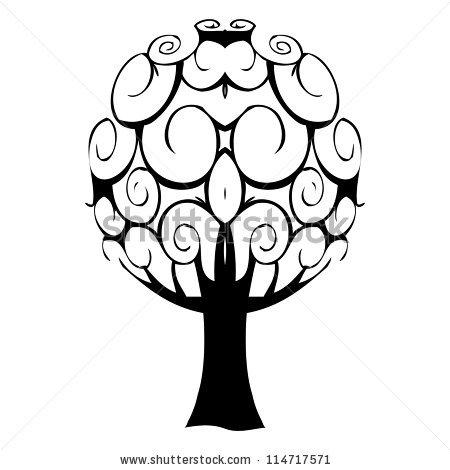 Vector Illustrated One Color Family Tree