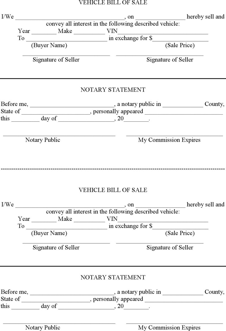 Vehicle Bill of Sale With Notary Template