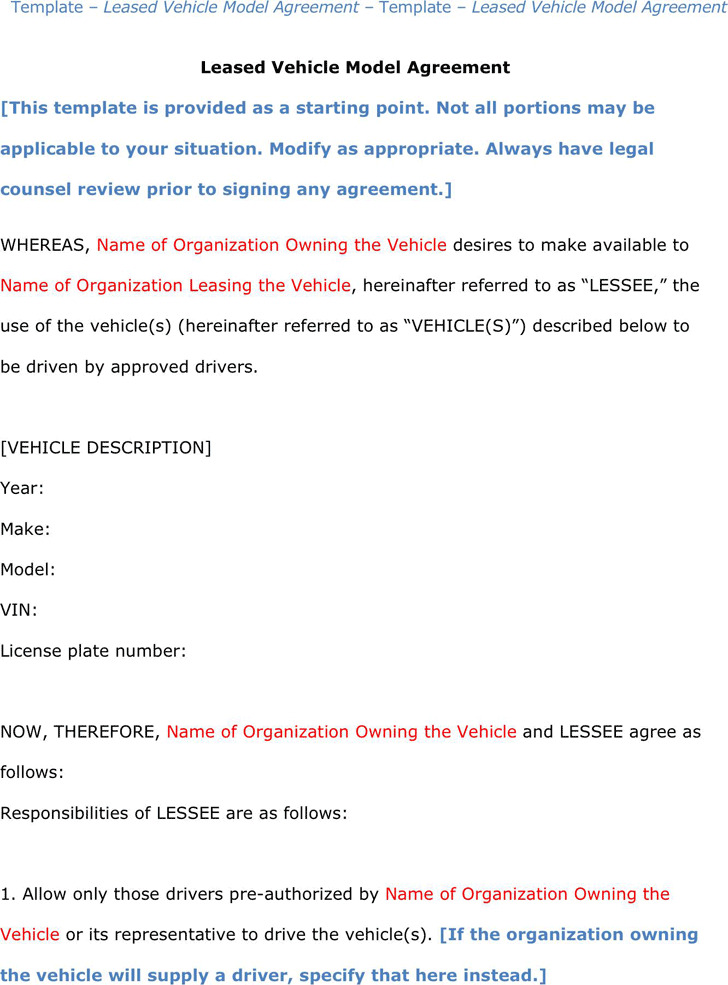 Vehicle Lease Agreement | Download Free & Premium Templates, Forms