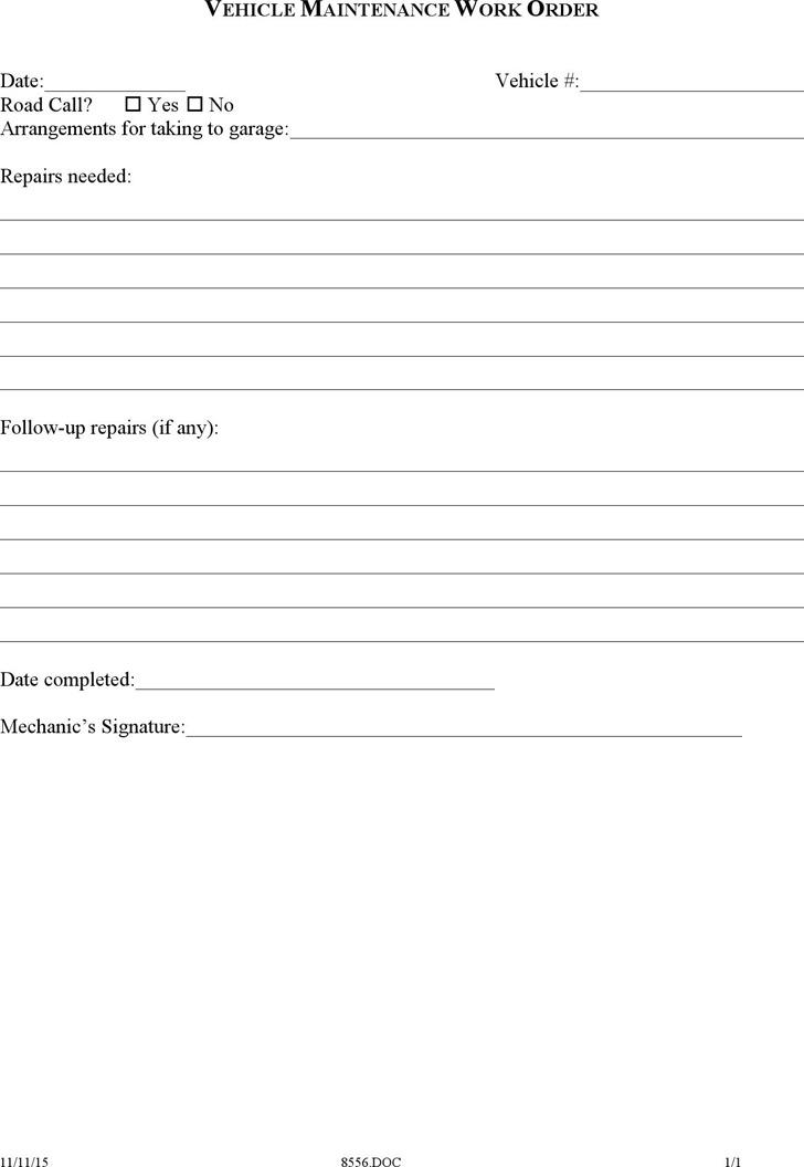 Auto Repair Order Template Excel Shefftunes