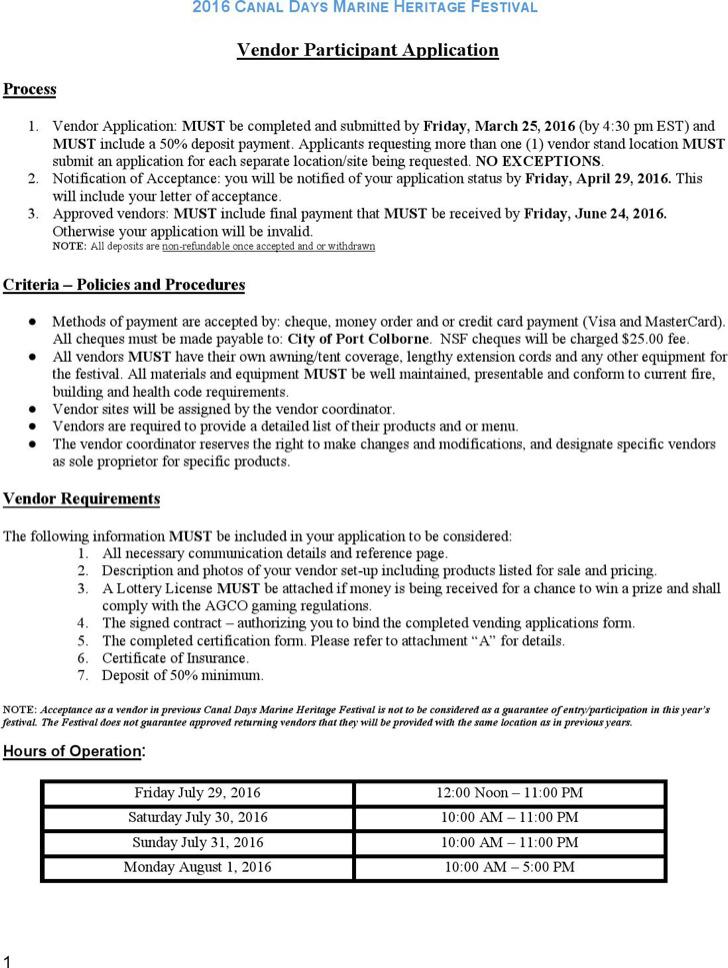 Sample Vendor Registration Forms