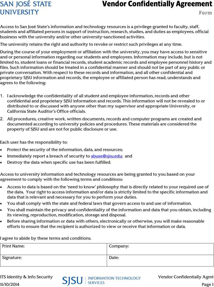 Vendor Sample Business Confidentiality Agreement