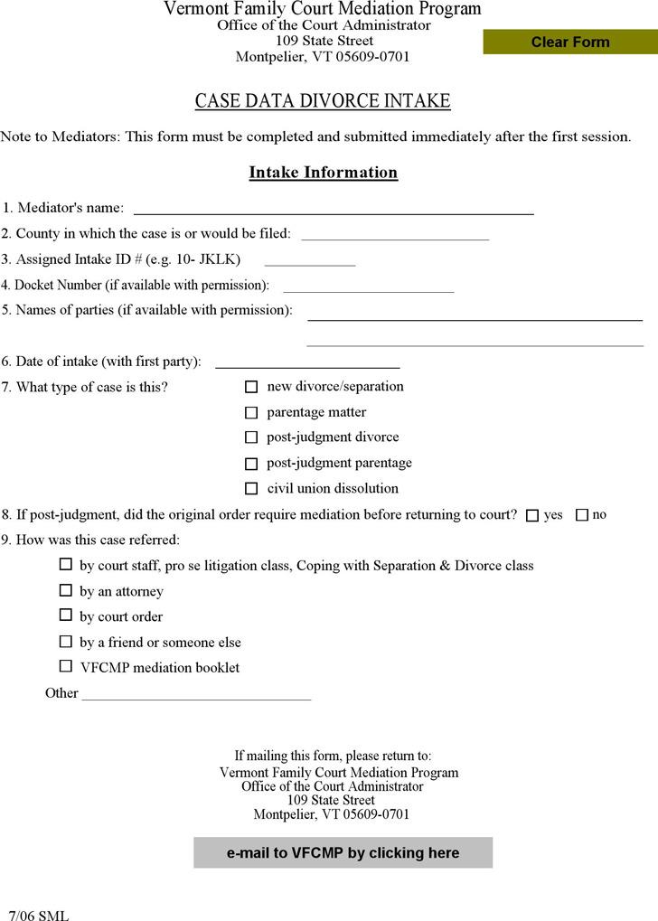 Vermont Divorce Mediation Intake Form