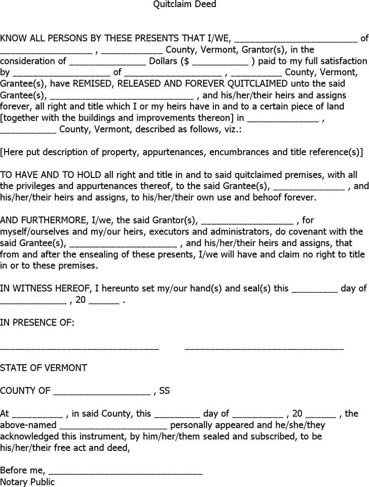 Vermont Quitclaim Deed Form 1