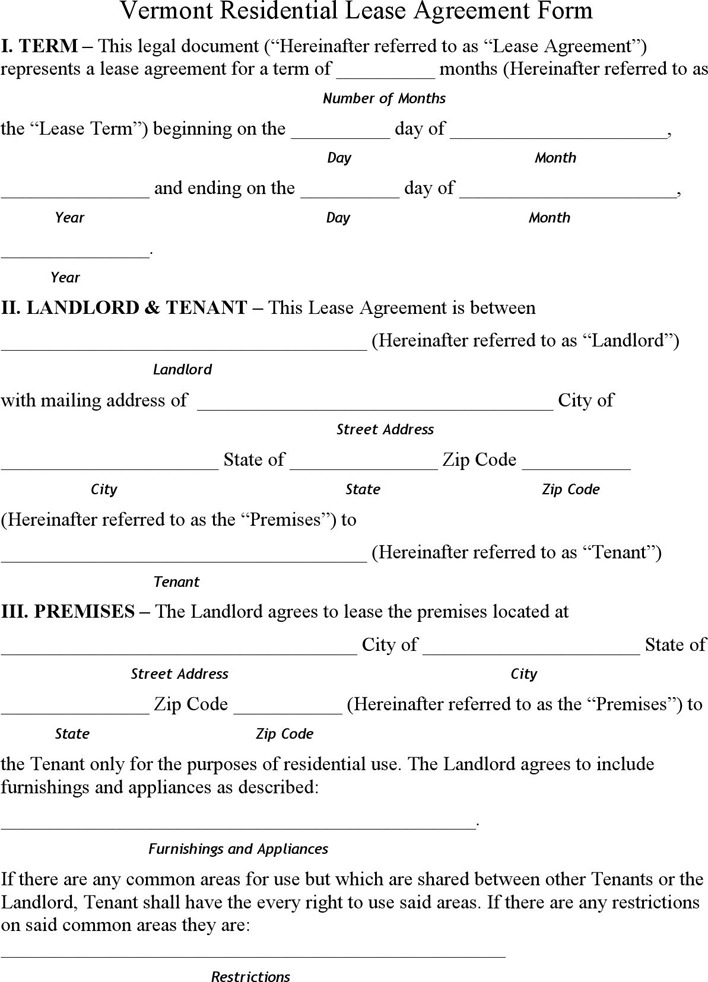 Vermont Residential Lease Agreement Form