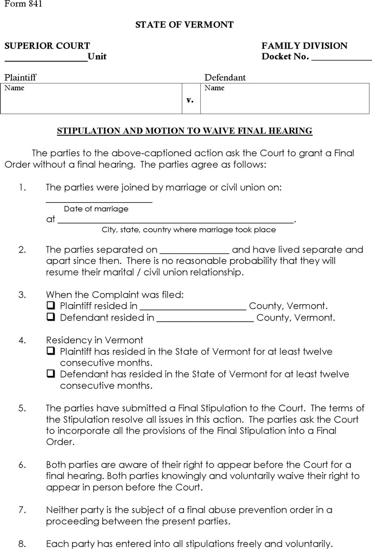 Vermont Stipution and Motion to Waive Final Hearing Form