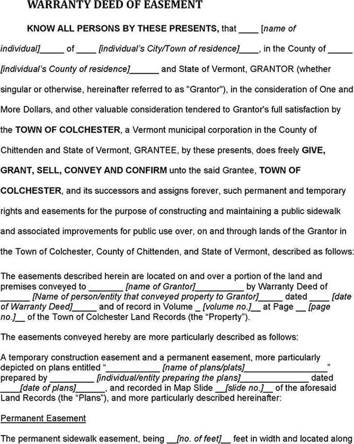 Vermont Warranty Deed of Easement (Chittenden County)