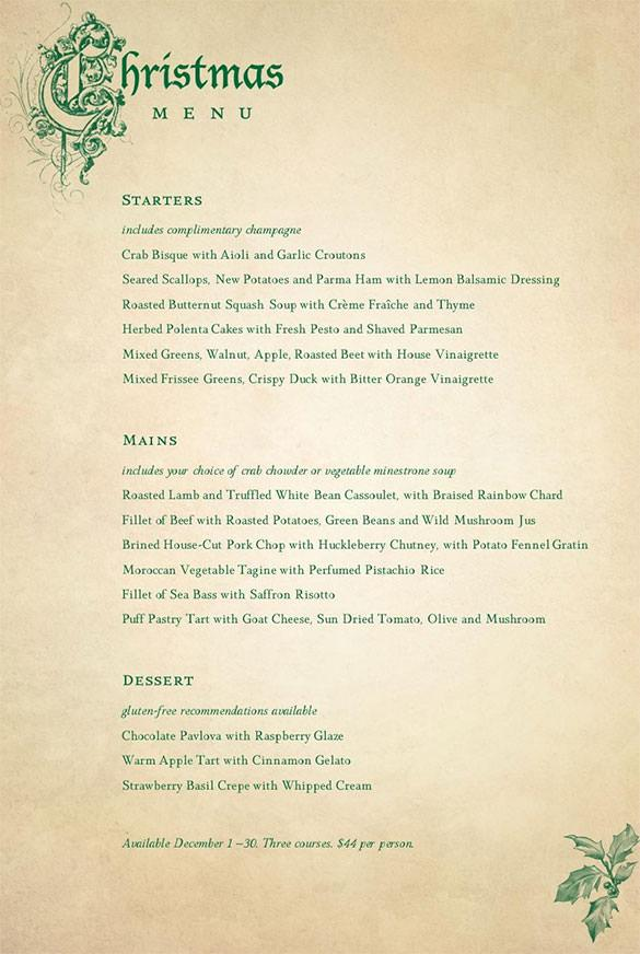 Victorian Restaurant Christmas Menu Template