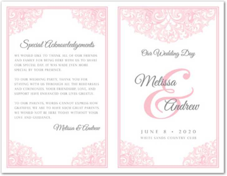 Victorian Revival Pink Wedding Program Template