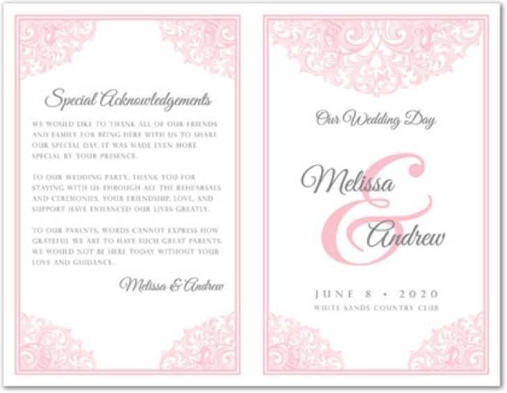 Victorian Revival Pink Wedding Program Template