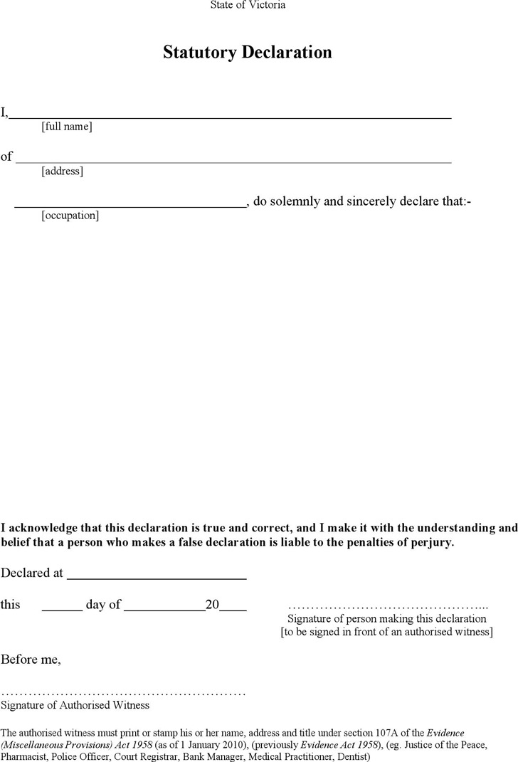 Statutory Declaration Form Download Free Amp Premium