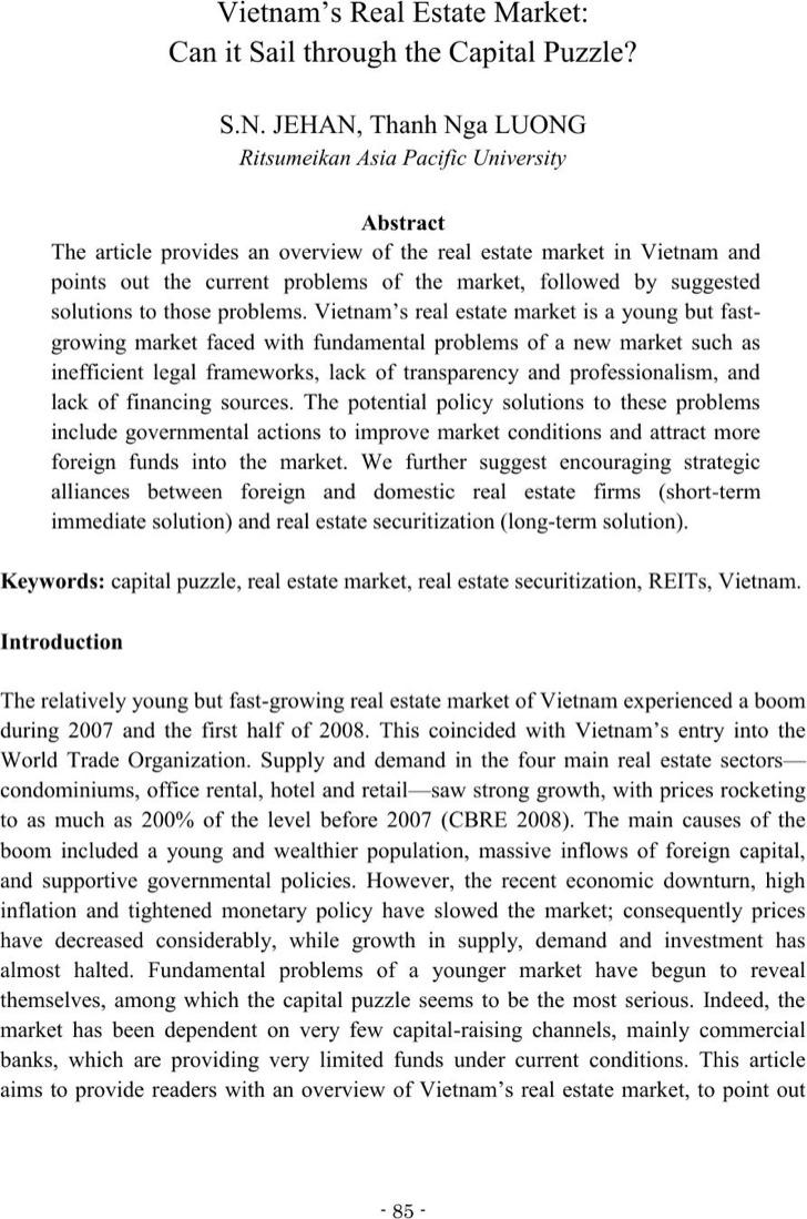 Vietnams Real Estate Market