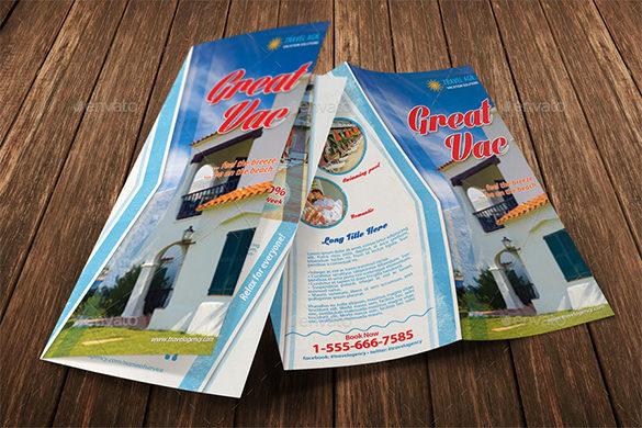 Villa Holiday Vacation Bi fold Brochure