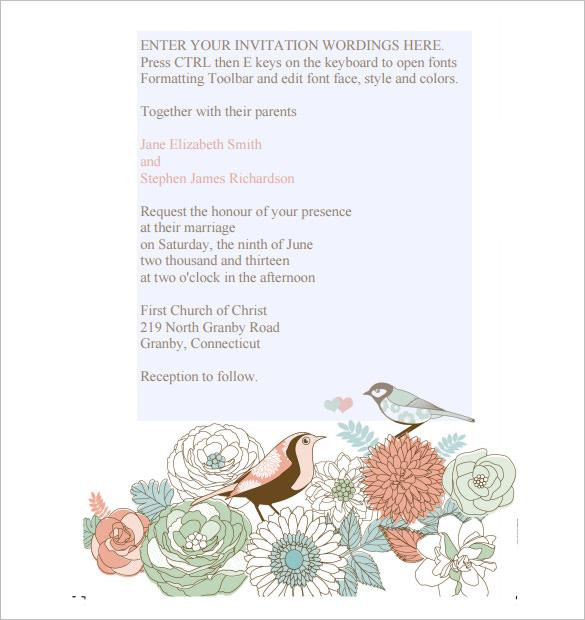 Vintage Birds Wedding Invitation Template Free PDF