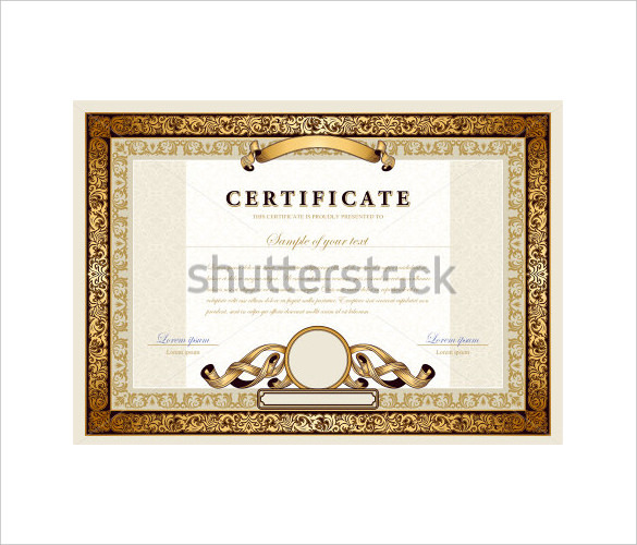Vintage Blank Certificate with Golded Border