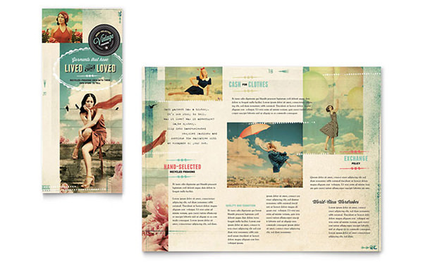 Vintage Clothing Tri Fold Brochure Template