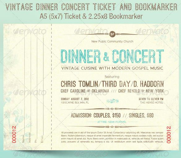 Vintage Dinner Concert Ticket Template
