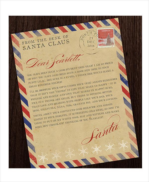 Vintage Santa Letter Template In PSD