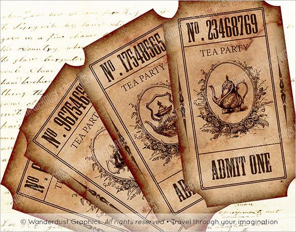 Vintage Tea Party Ticket Invitation Template