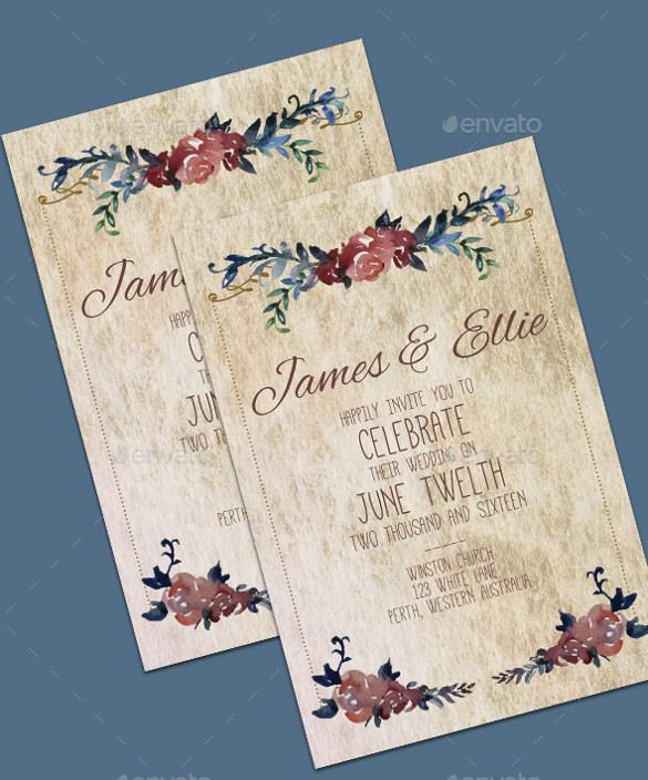 Vintage Wedding Invitation Template For Download