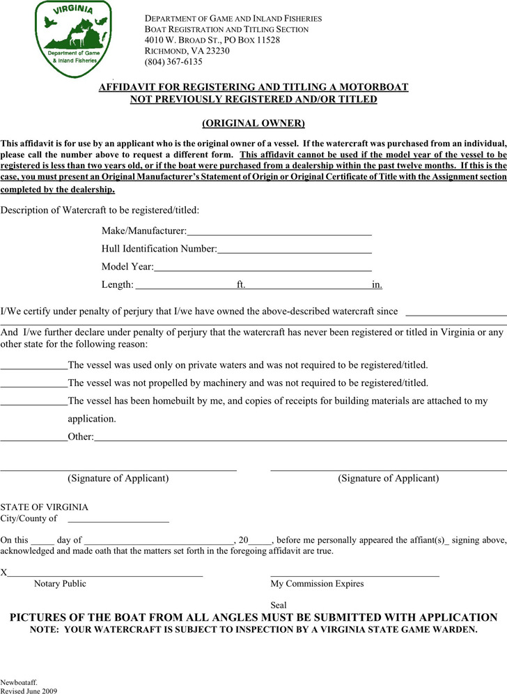 Virginia Affidavit for Registering a Motorboat Not Previously Registered