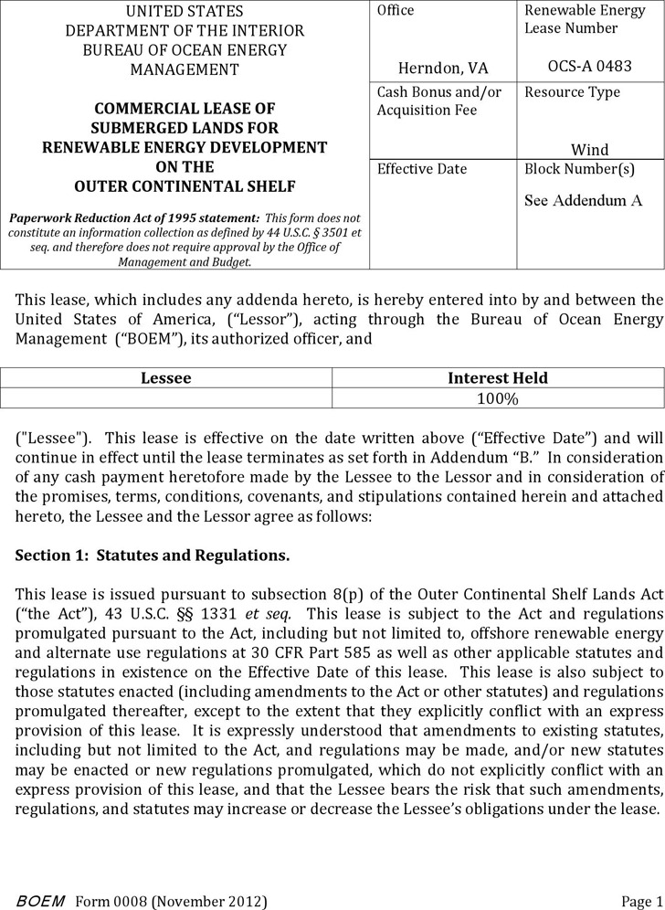 Virginia Commercial Lease of Submerged Lands for Renewable Energy Development on the Outer Continental Shelf Form