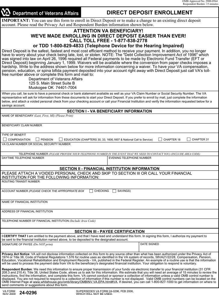 Virginia Direct Deposit Form 1