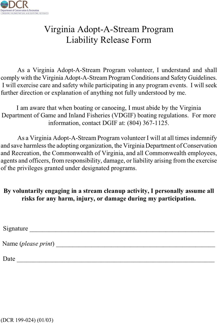 Virginia Liability Release Form 1