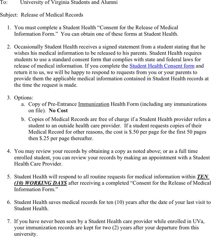 Virginia Medical Records Release Form 1