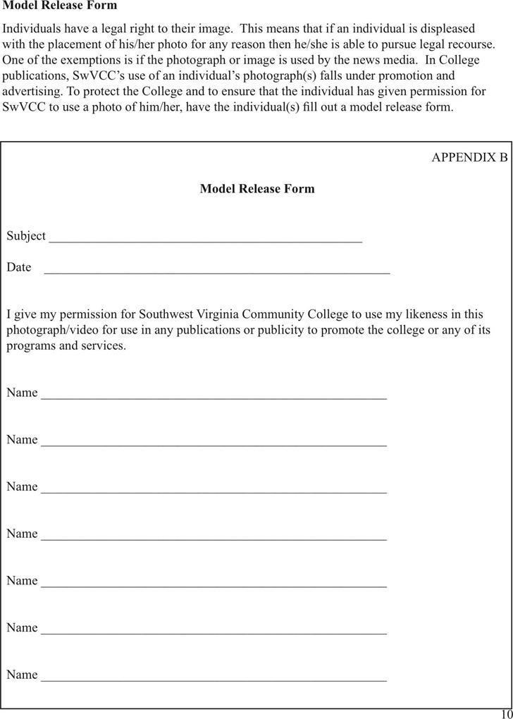 Virginia Model Release Form 1