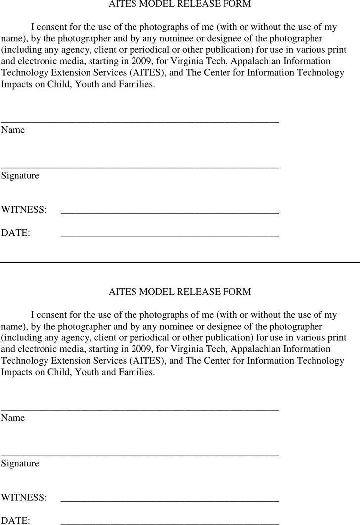 Virginia Model Release Form 2