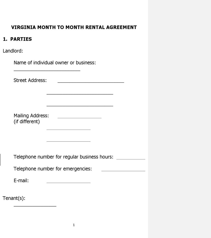 Virginia Month to Month Lease Agreement