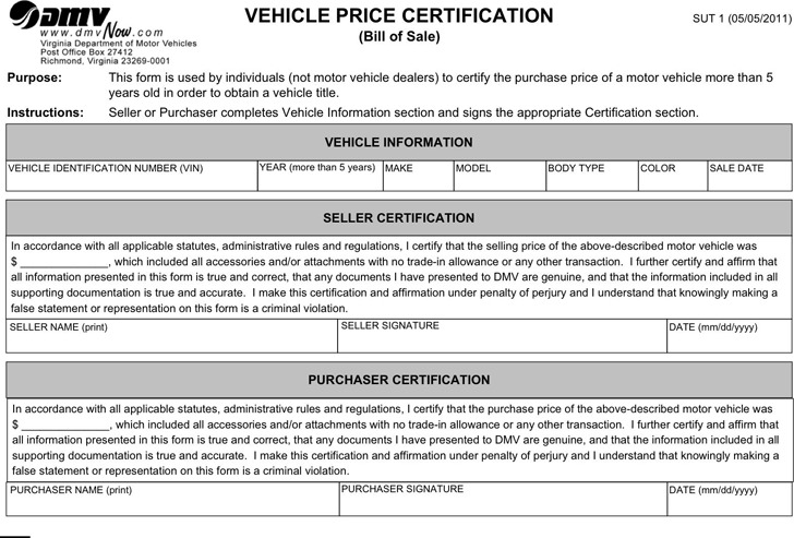 Va bill of sale for for Virginia motor vehicle department